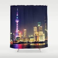china Shower Curtains featuring Shanghai, China  by Limitless Design