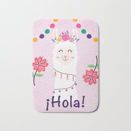 ¡Hola! Cute Pink Alpaca - Boho Llama Illustration Bath Mat