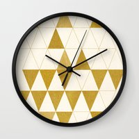 gold Wall Clocks featuring My Favorite Shape by Krissy Diggs