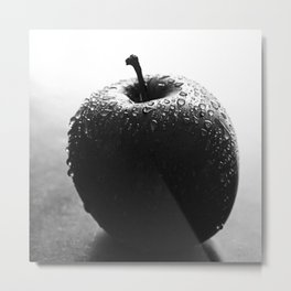 Apple with water drops in B&W Metal Print
