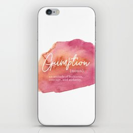 Gumption Definition - Word Nerd - Pink Watercolor iPhone Skin