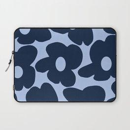 Large Dark Blue Retro Flowers Baby Blue Background #decor #society6 #buyart Laptop Sleeve
