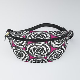 Black and White Rose Fanny Pack