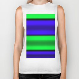 Green & Blue Horizontal Stripes Biker Tank