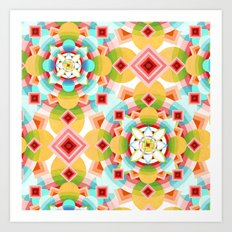 Groovy Cosmic Geometric Art Print