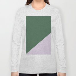 Army Green & Powder pink - oblique Long Sleeve T-shirt