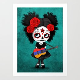 Day of the Dead Girl Playing Armenian Flag Guitar Art Print
