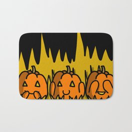 Halloween Pumpkins Speak No Evil, Hear No Evil, See No Evil | Veronica Nagorny Bath Mat