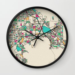 Colorful City Maps: Henderson, Nevada Wall Clock
