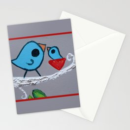 Mamma Bird - Blue on Grey Stationery Cards