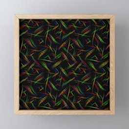 Multicolored smooth curved lines in a neon bright background for a festive mood. Framed Mini Art Print
