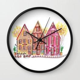 Coloured houses II Wall Clock