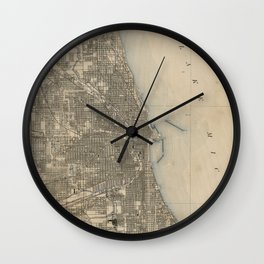 Vintage Map of Chicago (1899) Wall Clock