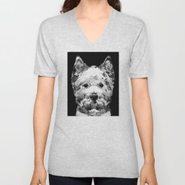 Black And White West Highland Terrier Dog Art Sharon Cummings Unisex V-Neck