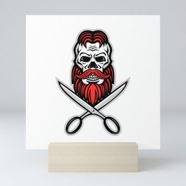 Skull Hair and Beard Scissors Mascot Mini Art Print