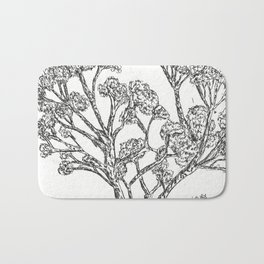 Black and white Rollerball Pen Tree Branches Drawing Bath Mat