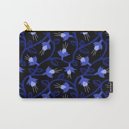 Midnight Blue Fuchsias & Vines Carry-All Pouch