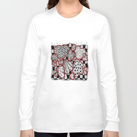 Zentangle Friendship Hearts Long Sleeve T-shirt