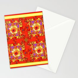 PATTERNED  RED & GOLD ART DECO ORANGE-RED POPPIES Stationery Cards