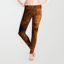 Rustic Old World Map Leggings