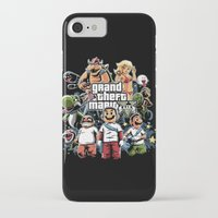 grand theft auto iPhone & iPod Cases featuring Grand Theft Mario by Fuacka