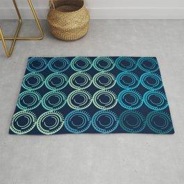 Blue Circles Abstract Pattern Rug