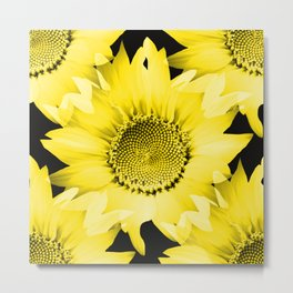 Yellow Sunflowers On Black #decor #society6 #buyart Metal Print
