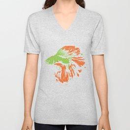 Betta Splendens Shirt Cute Bettas Siamese Fighting Fish Gift Unisex V-Neck