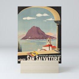 Wanderlust funicolare drahtseilbahn monte san Mini Art Print