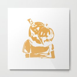 Pumpkin Mug Shot Metal Print