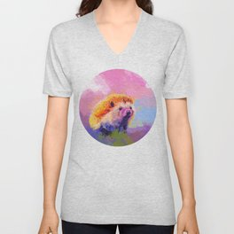 Sweet Hedgehog, cute pink and purple animal painting Unisex V-Neck