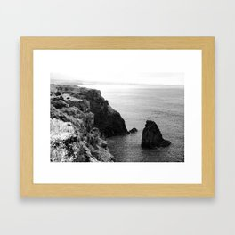 Seascape with monolith Framed Art Print