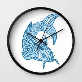 Koi Nishikigoi Carp Fish Diving Down Drawing Wall Clock