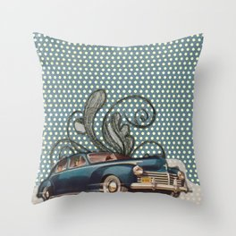 Vintage Woman Neck Gator Classic Car Antique Car Vintage Lady Throw Pillow