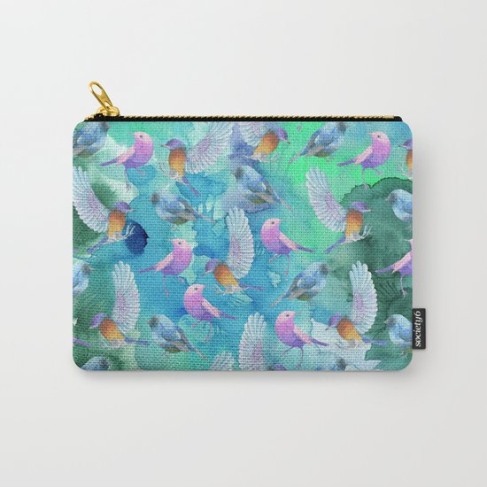 Birds in the sky- Bird animal pattern on aqua backround Carry-All Pouch