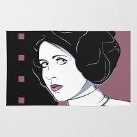 princess leia Area & Throw Rugs featuring Princess Leia Pop Art by Patrick Scullin