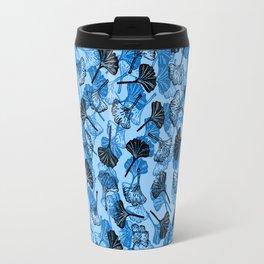 Ginkgo Biloba linocut pattern LIGHT BLUE Travel Mug