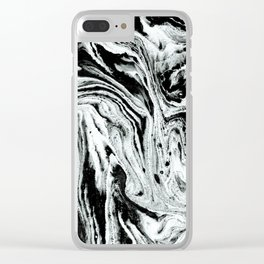 marble black and white minimal suminagashi japanese spilled ink abstract art Clear iPhone Case