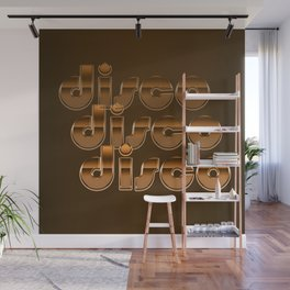 Metallic Seventies Disco Emblem Wall Mural
