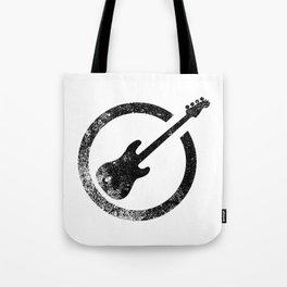 Bass Guitar Ink Stamp Tote Bag