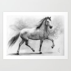 Horse II - pencil drawing Art Print