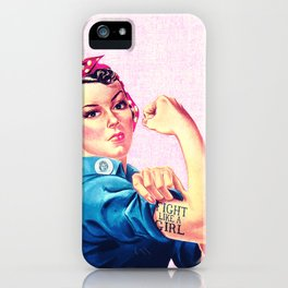 Fight Like A Girl Rosie The Riveter Girly Mod Pink iPhone Case