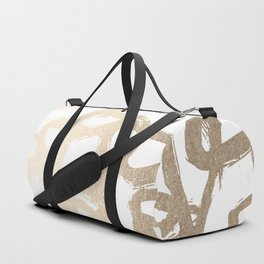 White Gold Geometric Triangle Pattern Duffle Bag