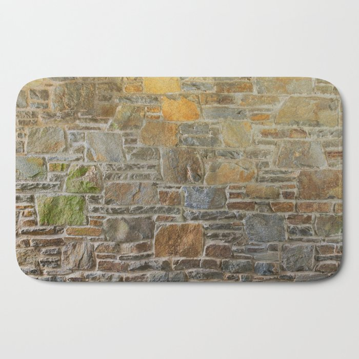 Avondale Brown Stone Wall and Mortar Texture Photography Bath Mat