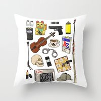 sherlock Throw Pillows featuring Sherlock by Shanti Draws
