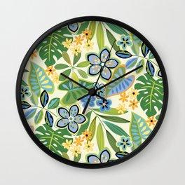 Tropical Floral Toss Wall Clock