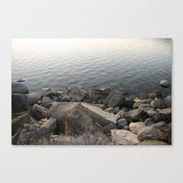 Lakeside rocks Canvas Print
