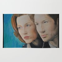 scully Area & Throw Rugs featuring X Files. Mulder and Scully by Jenn