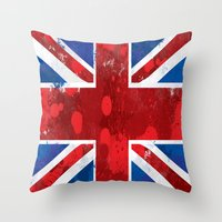 union jack Throw Pillows featuring Union Jack by Riley