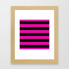 Bright Hot Neon Pink and Black Cabana Tent Stripes Framed Art Print